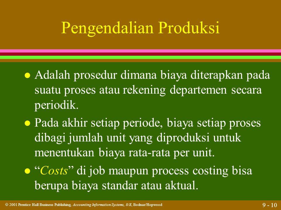  2001 Prentice Hall Business Publishing, Accounting Information Systems, 8/E, Bodnar/Hopwood 9 - 10 Pengendalian Produksi l Adalah prosedur dimana bi