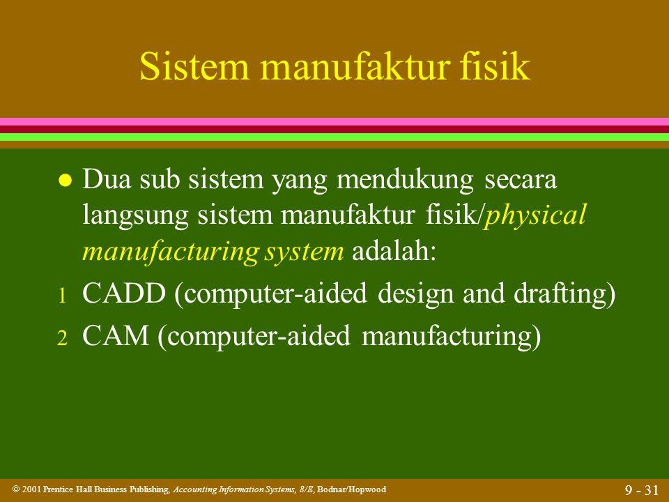  2001 Prentice Hall Business Publishing, Accounting Information Systems, 8/E, Bodnar/Hopwood 9 - 31 Sistem manufaktur fisik l Dua sub sistem yang men