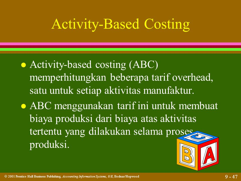  2001 Prentice Hall Business Publishing, Accounting Information Systems, 8/E, Bodnar/Hopwood 9 - 47 Activity-Based Costing l Activity-based costing (