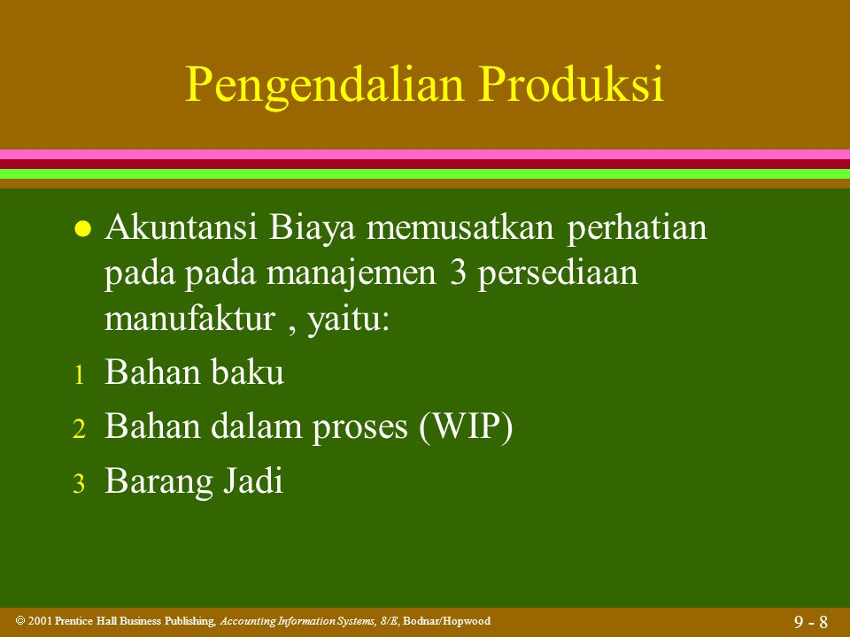  2001 Prentice Hall Business Publishing, Accounting Information Systems, 8/E, Bodnar/Hopwood 9 - 39 Perencanaan Produksi Updated Production Status File Updated Production Status File Production Orders Production Orders Material Requisitions Material Requisitions Routings