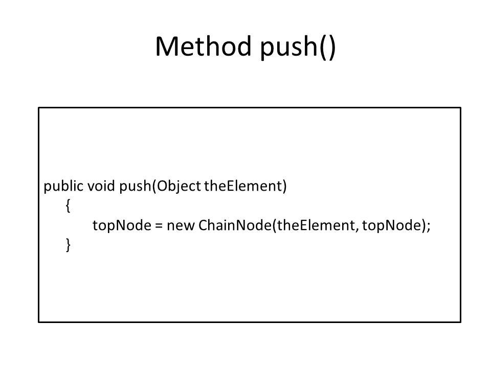 Method push() public void push(Object theElement) { topNode = new ChainNode(theElement, topNode); }
