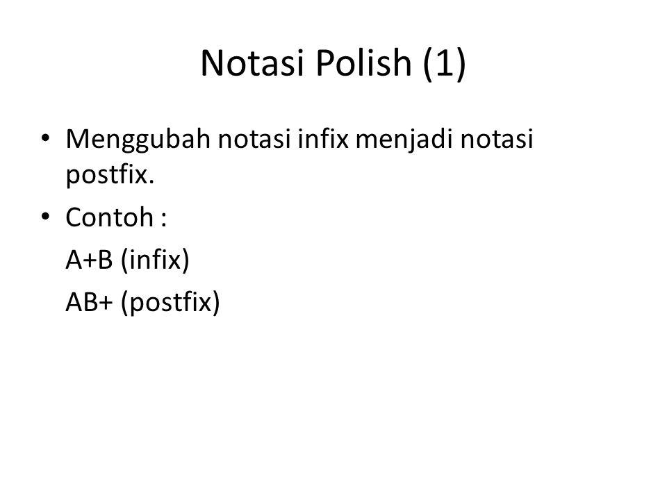 Notasi Polish (1) Menggubah notasi infix menjadi notasi postfix. Contoh : A+B (infix) AB+ (postfix)