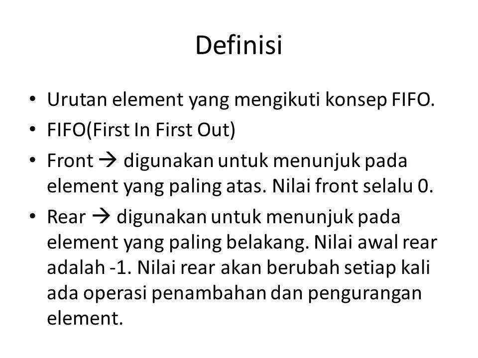 Definisi Urutan element yang mengikuti konsep FIFO. FIFO(First In First Out) Front  digunakan untuk menunjuk pada element yang paling atas. Nilai fro