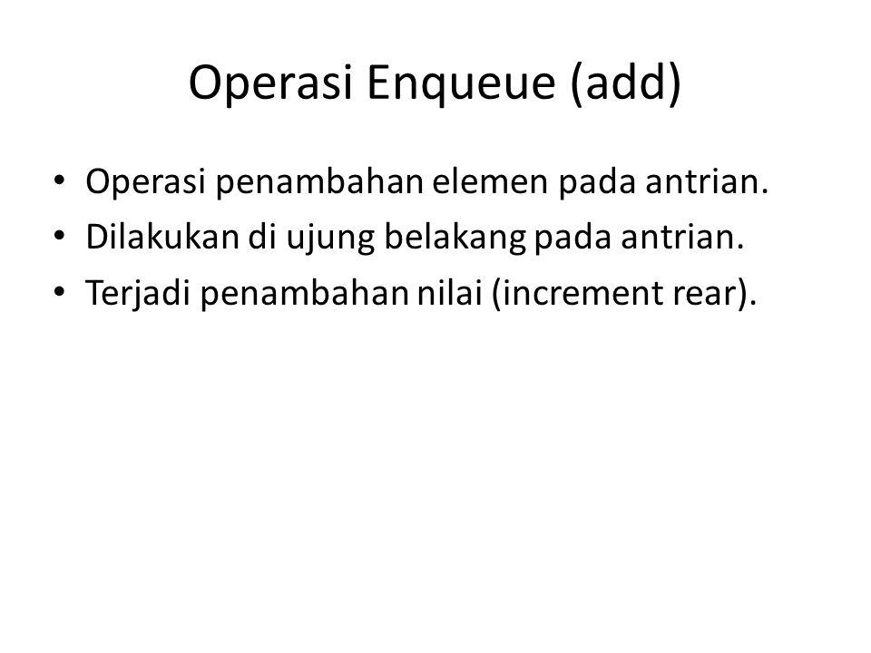 Operasi Enqueue (add) Operasi penambahan elemen pada antrian. Dilakukan di ujung belakang pada antrian. Terjadi penambahan nilai (increment rear).