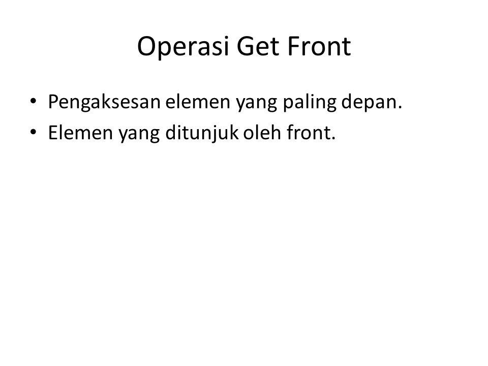 Operasi Get Front Pengaksesan elemen yang paling depan. Elemen yang ditunjuk oleh front.