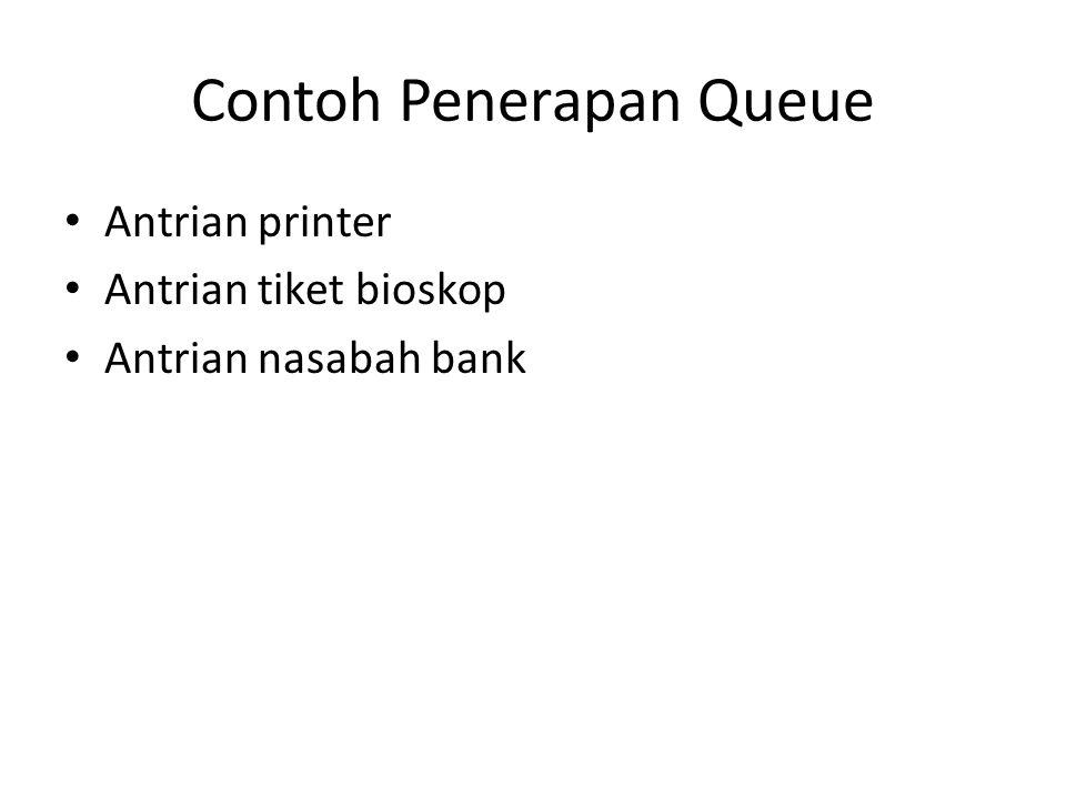 Contoh Penerapan Queue Antrian printer Antrian tiket bioskop Antrian nasabah bank