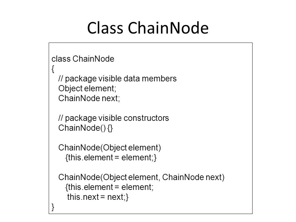Class ChainNode class ChainNode { // package visible data members Object element; ChainNode next; // package visible constructors ChainNode() {} Chain
