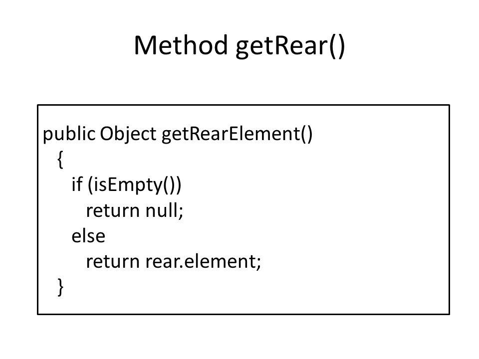 Method getRear() public Object getRearElement() { if (isEmpty()) return null; else return rear.element; }