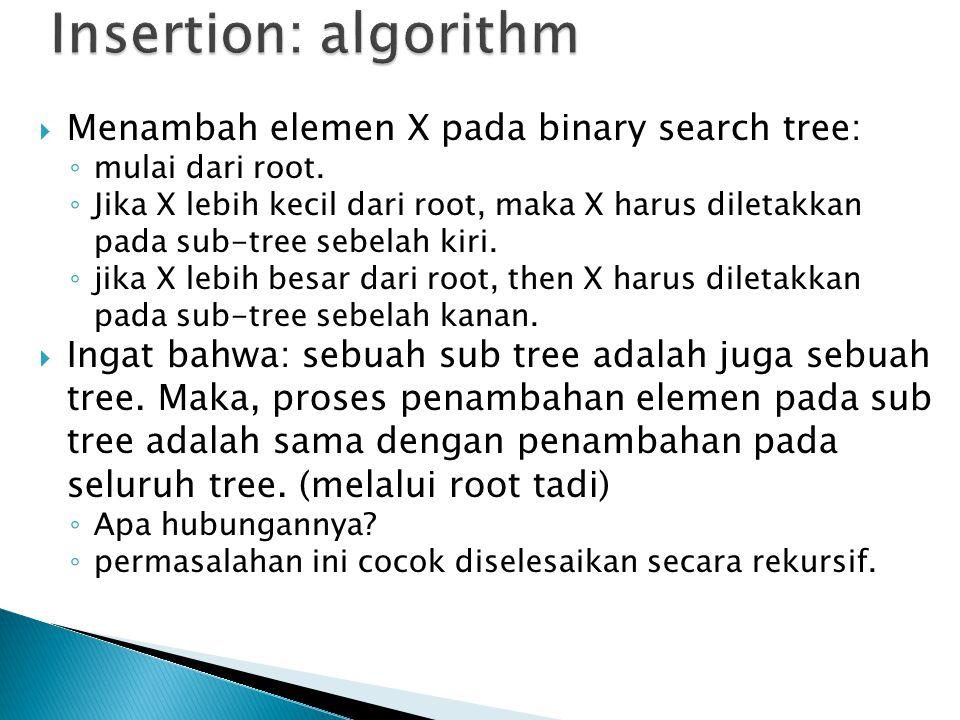  Menambah elemen X pada binary search tree: ◦ mulai dari root.