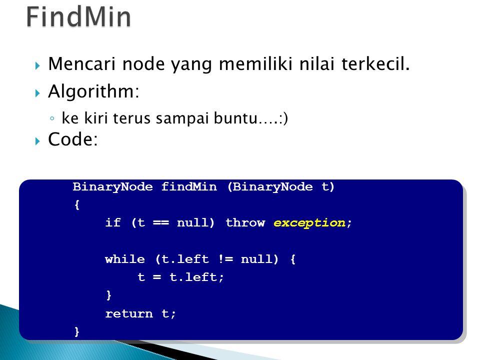 BinaryNode findMin (BinaryNode t) { if (t == null) throw exception; while (t.left != null) { t = t.left; } return t; } BinaryNode findMin (BinaryNode t) { if (t == null) throw exception; while (t.left != null) { t = t.left; } return t; }  Mencari node yang memiliki nilai terkecil.