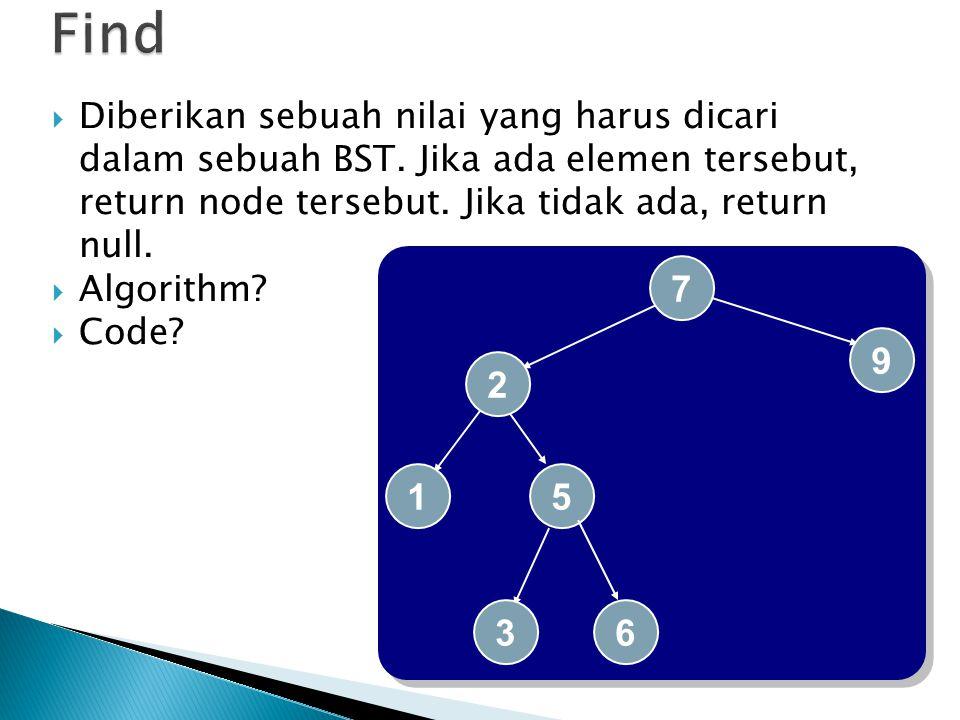  Diberikan sebuah nilai yang harus dicari dalam sebuah BST. Jika ada elemen tersebut, return node tersebut. Jika tidak ada, return null.  Algorithm?
