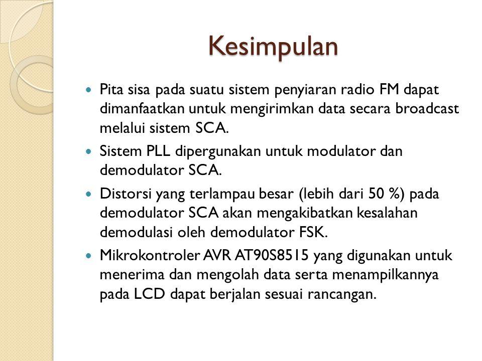 Kesimpulan Pita sisa pada suatu sistem penyiaran radio FM dapat dimanfaatkan untuk mengirimkan data secara broadcast melalui sistem SCA. Sistem PLL di