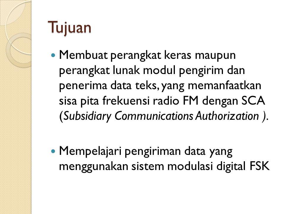 Tujuan Membuat perangkat keras maupun perangkat lunak modul pengirim dan penerima data teks, yang memanfaatkan sisa pita frekuensi radio FM dengan SCA