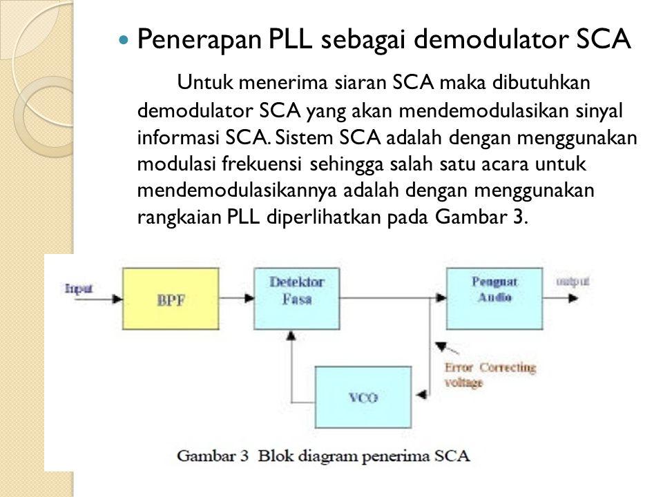 Penerapan PLL sebagai demodulator SCA Untuk menerima siaran SCA maka dibutuhkan demodulator SCA yang akan mendemodulasikan sinyal informasi SCA. Siste
