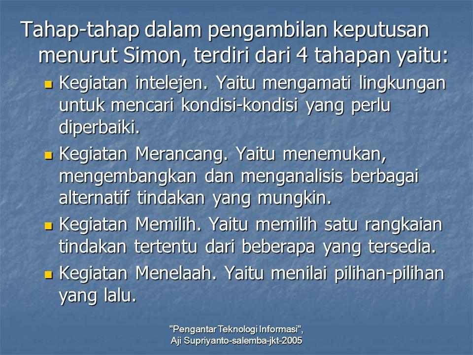 Pengantar Teknologi Informasi , Aji Supriyanto-salemba-jkt-2005 Tahap-tahap dalam pengambilan keputusan menurut Simon, terdiri dari 4 tahapan yaitu: Kegiatan intelejen.