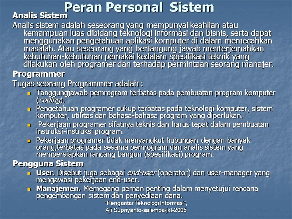 Peran Personal Sistem Analis Sistem Analis sistem adalah seseorang yang mempunyai keahlian atau kemampuan luas dibidang teknologi informasi dan bisnis
