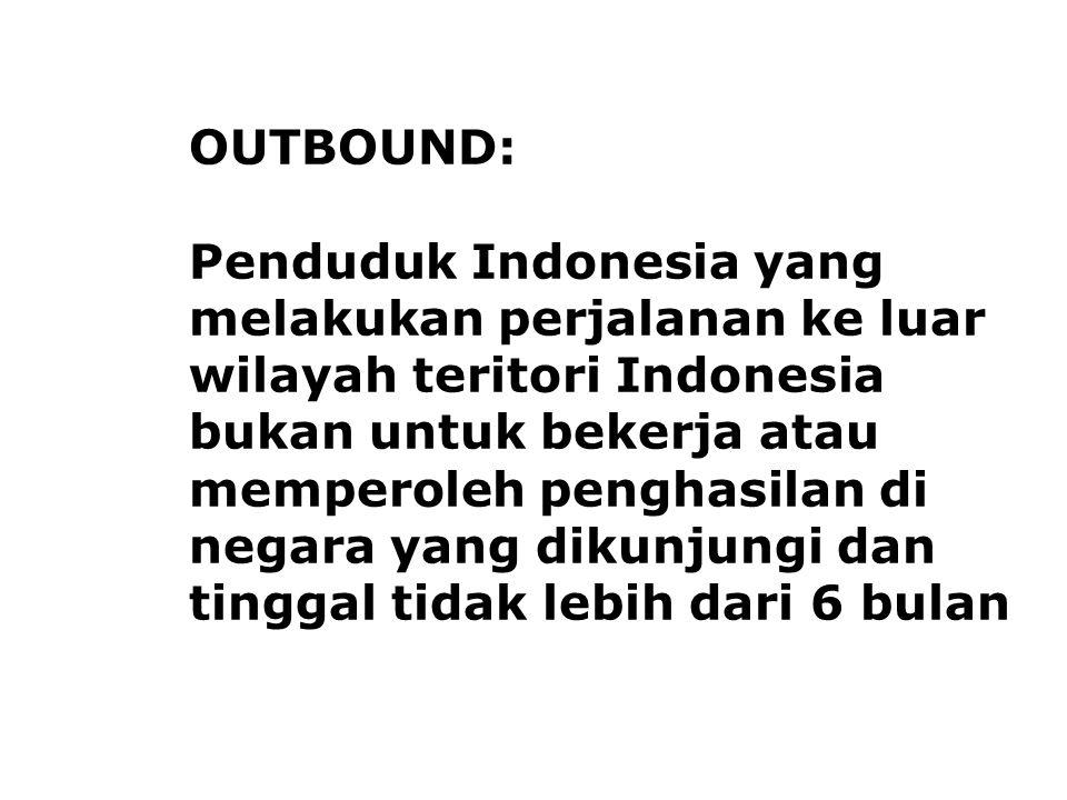 OUTBOUND: Penduduk Indonesia yang melakukan perjalanan ke luar wilayah teritori Indonesia bukan untuk bekerja atau memperoleh penghasilan di negara ya