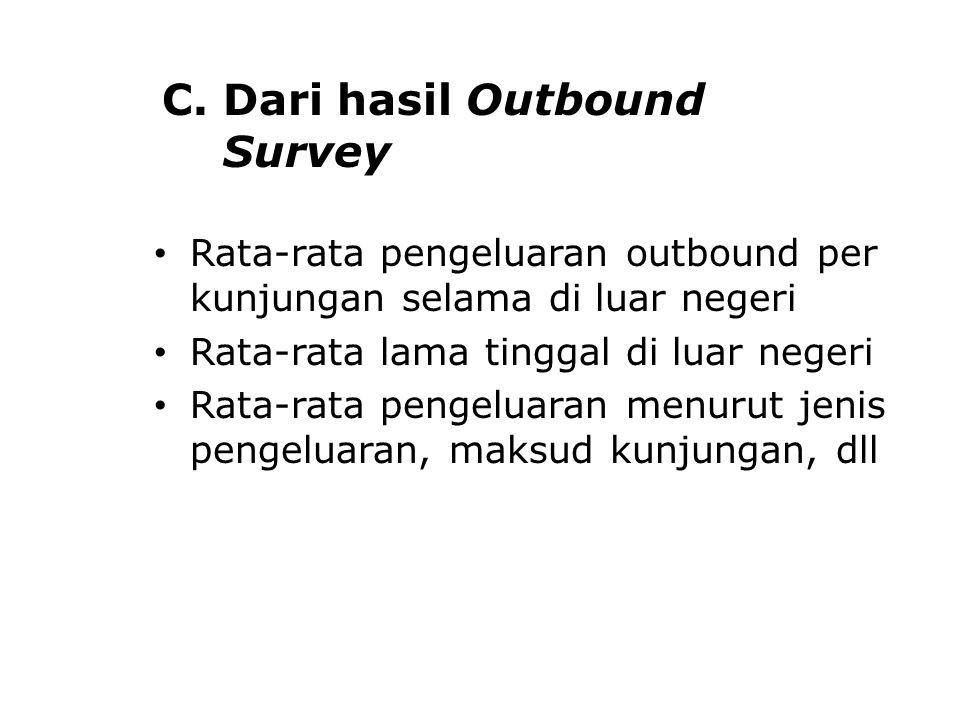C. Dari hasil Outbound Survey Rata-rata pengeluaran outbound per kunjungan selama di luar negeri Rata-rata lama tinggal di luar negeri Rata-rata penge