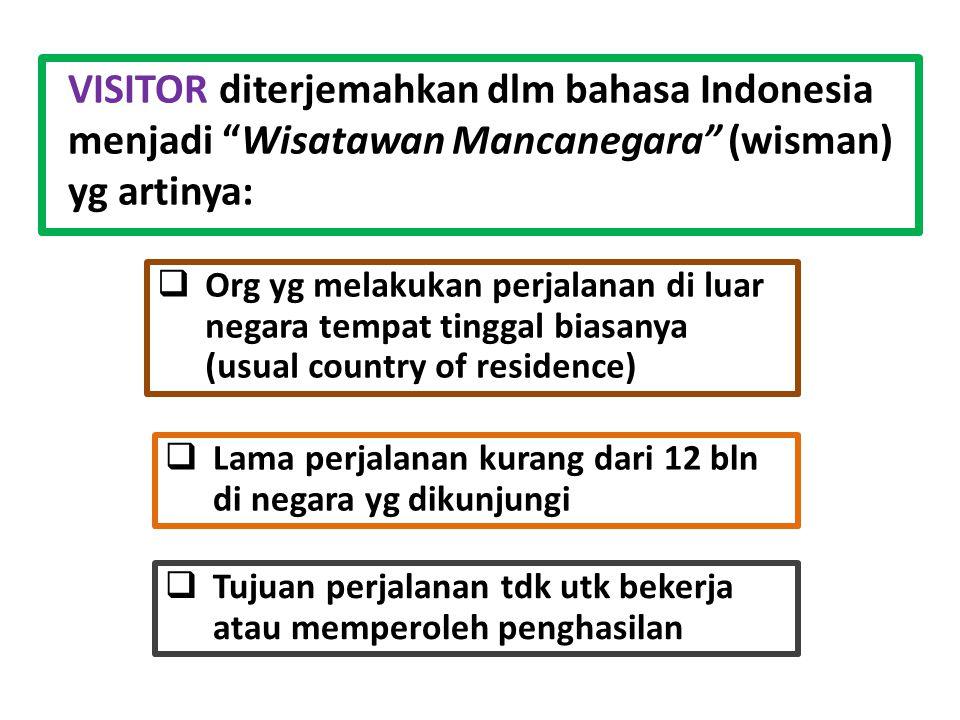 VISITOR diterjemahkan dlm bahasa Indonesia menjadi Wisatawan Mancanegara (wisman) yg artinya:  Org yg melakukan perjalanan di luar negara tempat tinggal biasanya (usual country of residence)  Lama perjalanan kurang dari 12 bln di negara yg dikunjungi  Tujuan perjalanan tdk utk bekerja atau memperoleh penghasilan