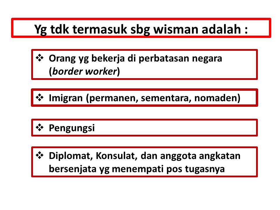 Yg tdk termasuk sbg wisman adalah :  Orang yg bekerja di perbatasan negara (border worker)  Imigran (permanen, sementara, nomaden)  Pengungsi  Diplomat, Konsulat, dan anggota angkatan bersenjata yg menempati pos tugasnya