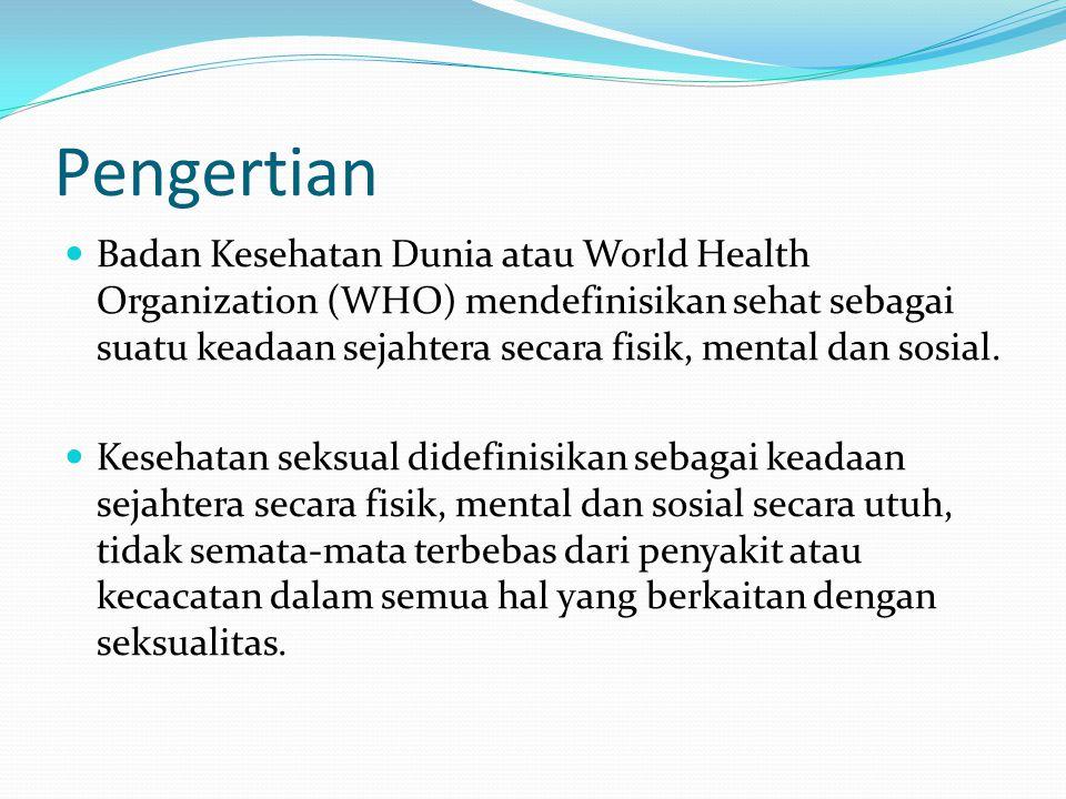 Pengertian Badan Kesehatan Dunia atau World Health Organization (WHO) mendefinisikan sehat sebagai suatu keadaan sejahtera secara fisik, mental dan so