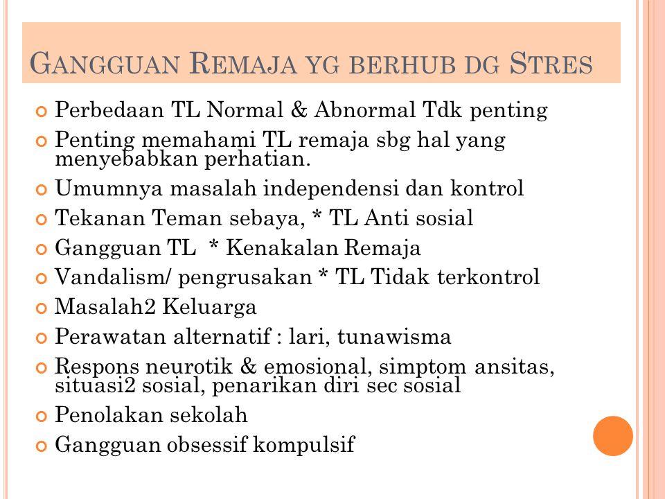 G ANGGUAN R EMAJA YG BERHUB DG S TRES Perbedaan TL Normal & Abnormal Tdk penting Penting memahami TL remaja sbg hal yang menyebabkan perhatian. Umumny