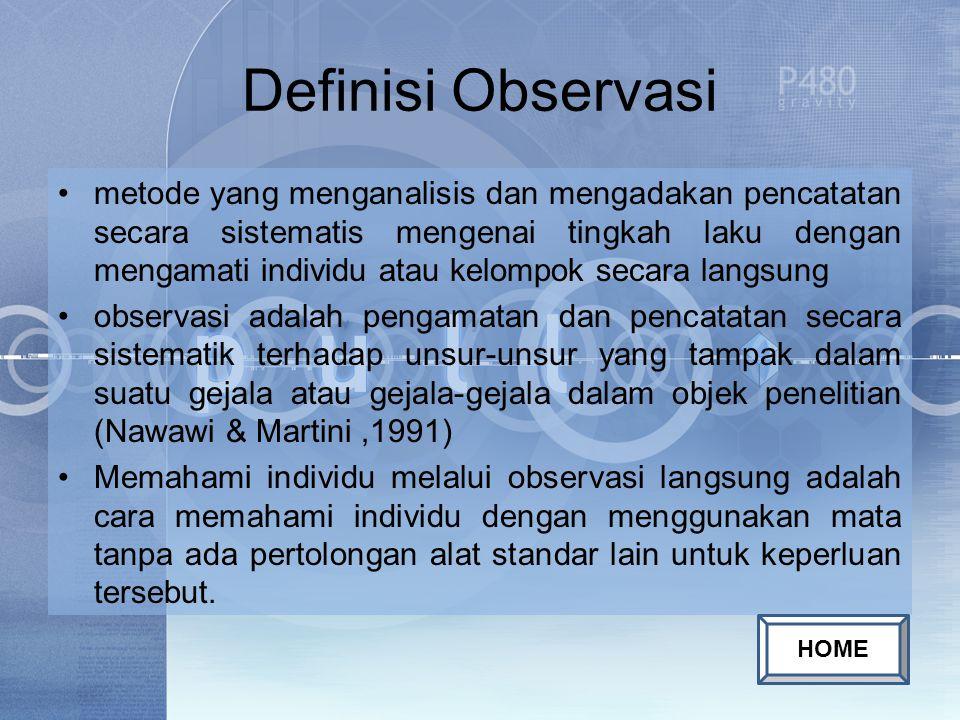 Definisi Observasi metode yang menganalisis dan mengadakan pencatatan secara sistematis mengenai tingkah laku dengan mengamati individu atau kelompok