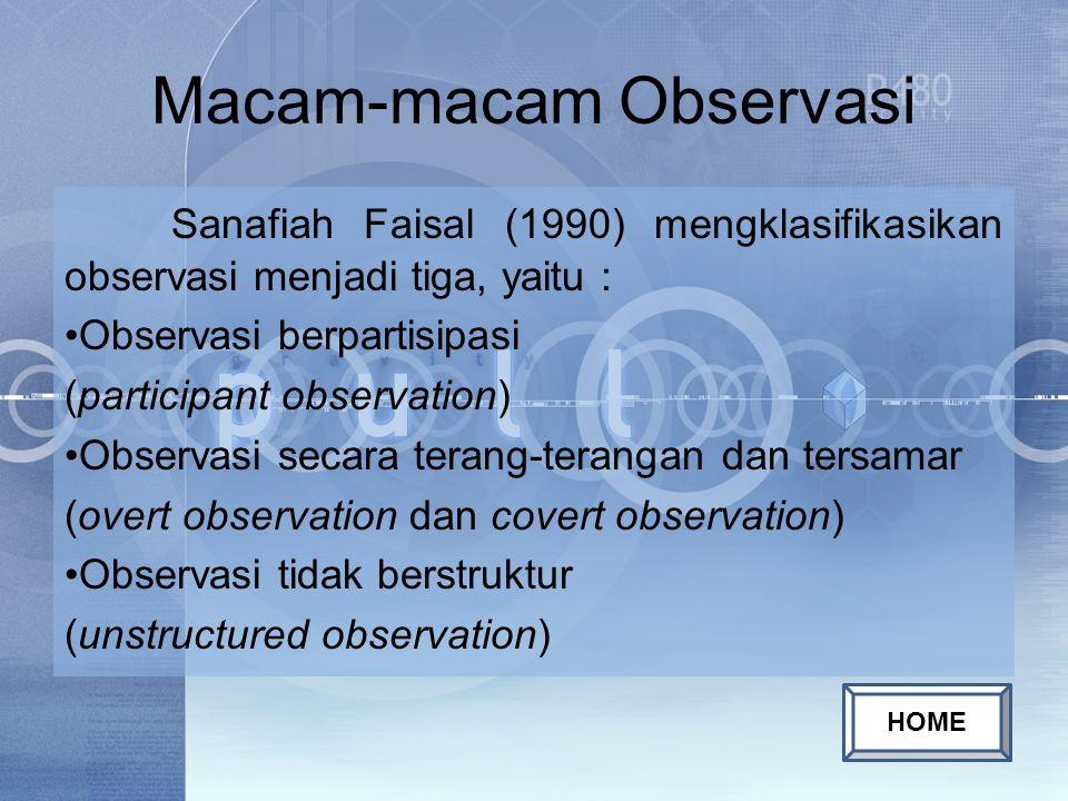 Macam-macam Observasi Sanafiah Faisal (1990) mengklasifikasikan observasi menjadi tiga, yaitu : Observasi berpartisipasi (participant observation) Observasi secara terang-terangan dan tersamar (overt observation dan covert observation) Observasi tidak berstruktur (unstructured observation) HOME