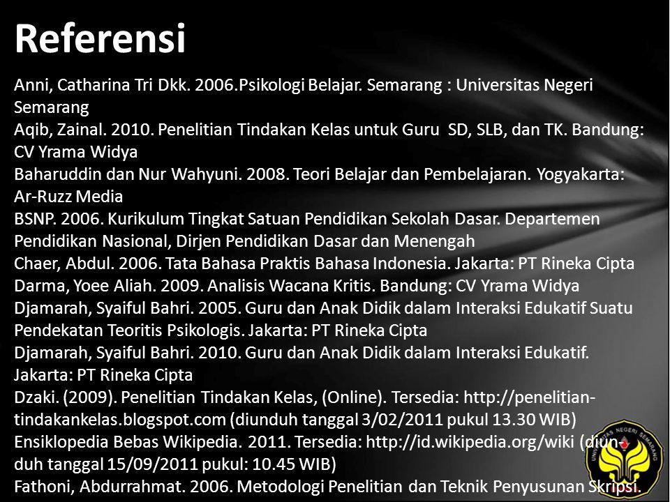 Referensi Anni, Catharina Tri Dkk. 2006.Psikologi Belajar.