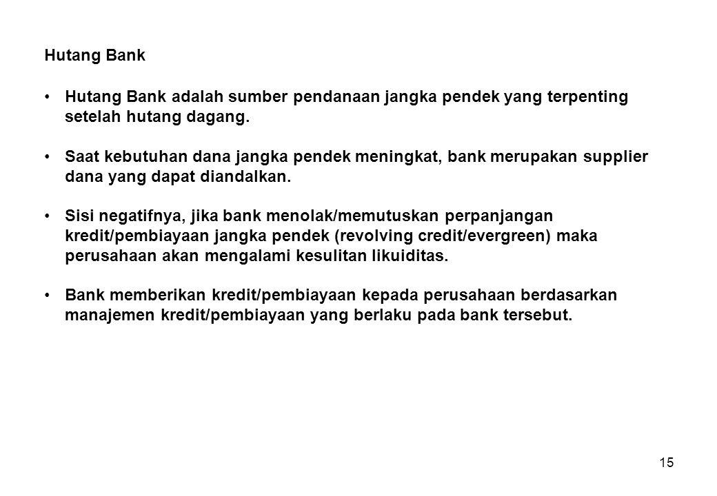 15 Hutang Bank adalah sumber pendanaan jangka pendek yang terpenting setelah hutang dagang. Saat kebutuhan dana jangka pendek meningkat, bank merupaka