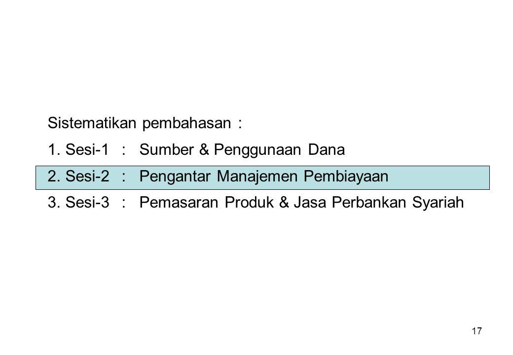 17 Sistematikan pembahasan : 1.Sesi-1:Sumber & Penggunaan Dana 2.Sesi-2:Pengantar Manajemen Pembiayaan 3.Sesi-3:Pemasaran Produk & Jasa Perbankan Syar