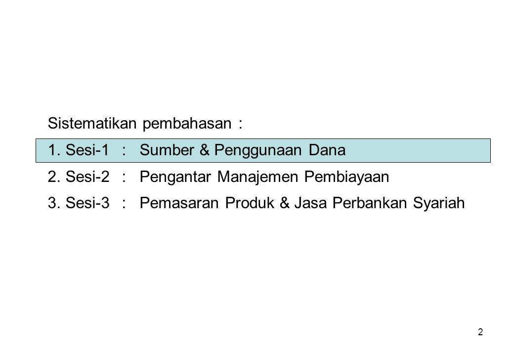 2 Sistematikan pembahasan : 1.Sesi-1:Sumber & Penggunaan Dana 2.Sesi-2:Pengantar Manajemen Pembiayaan 3.Sesi-3:Pemasaran Produk & Jasa Perbankan Syari