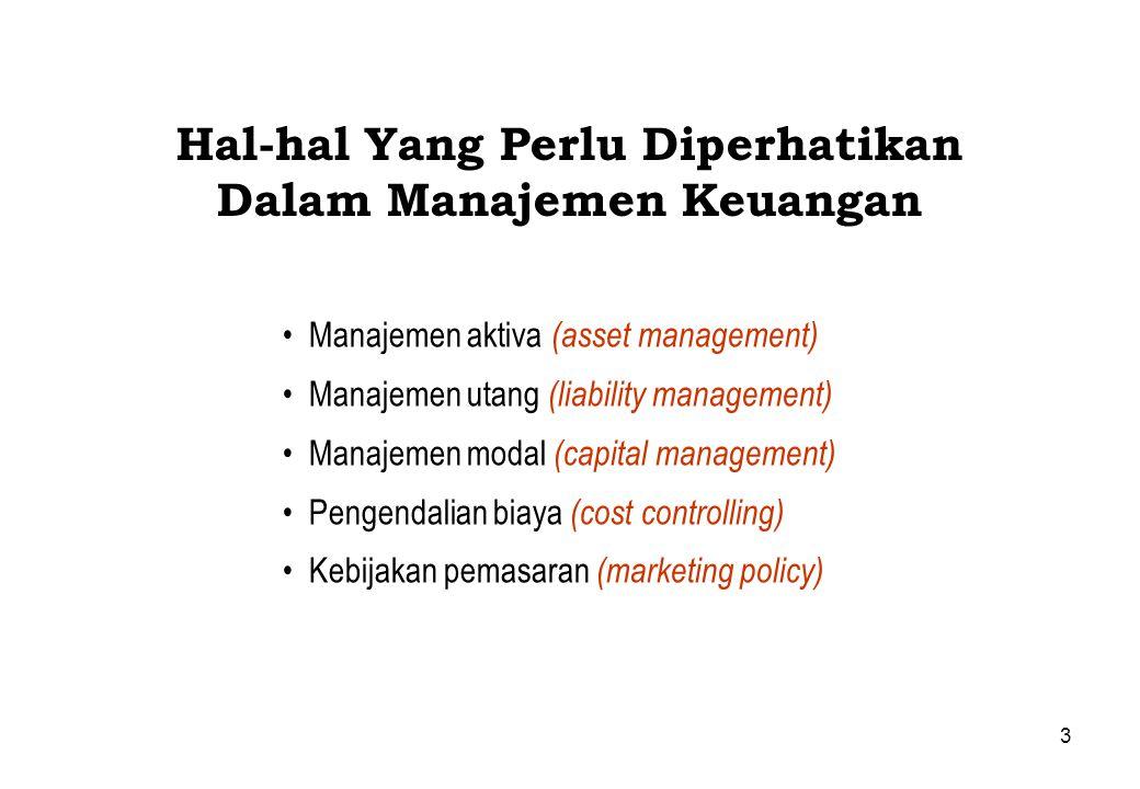 3 Hal-hal Yang Perlu Diperhatikan Dalam Manajemen Keuangan Manajemen aktiva (asset management) Manajemen utang (liability management) Manajemen modal