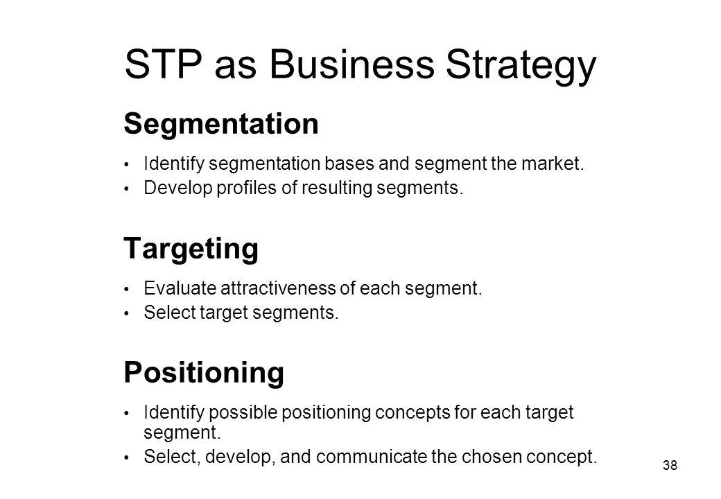 38 STP as Business Strategy Segmentation Identify segmentation bases and segment the market.