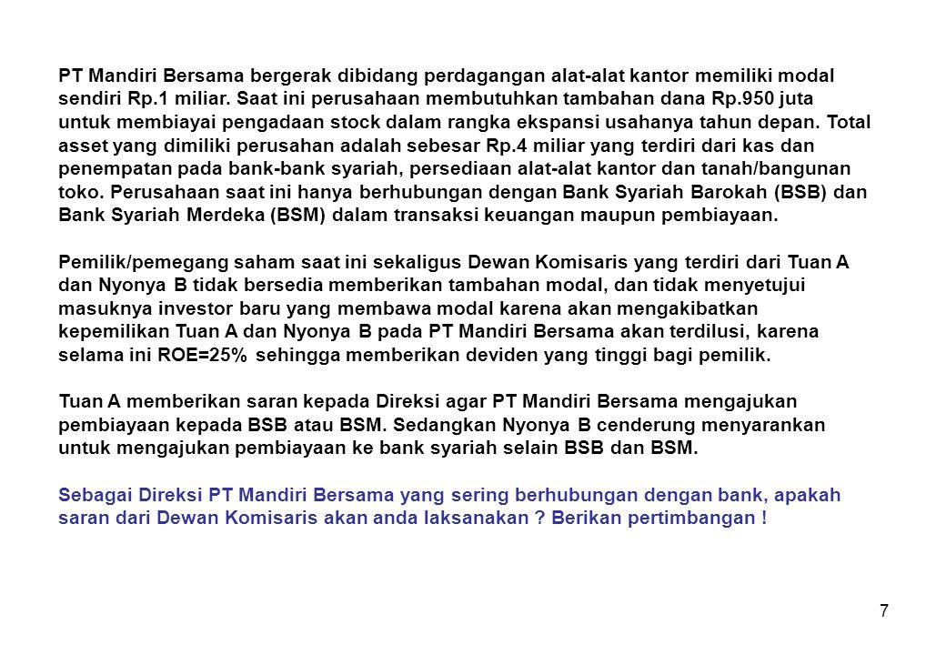 28 Mudharabah dan musyarakah merupakan bentuk pembiayaan yang memiliki risiko tinggi bagi bank.