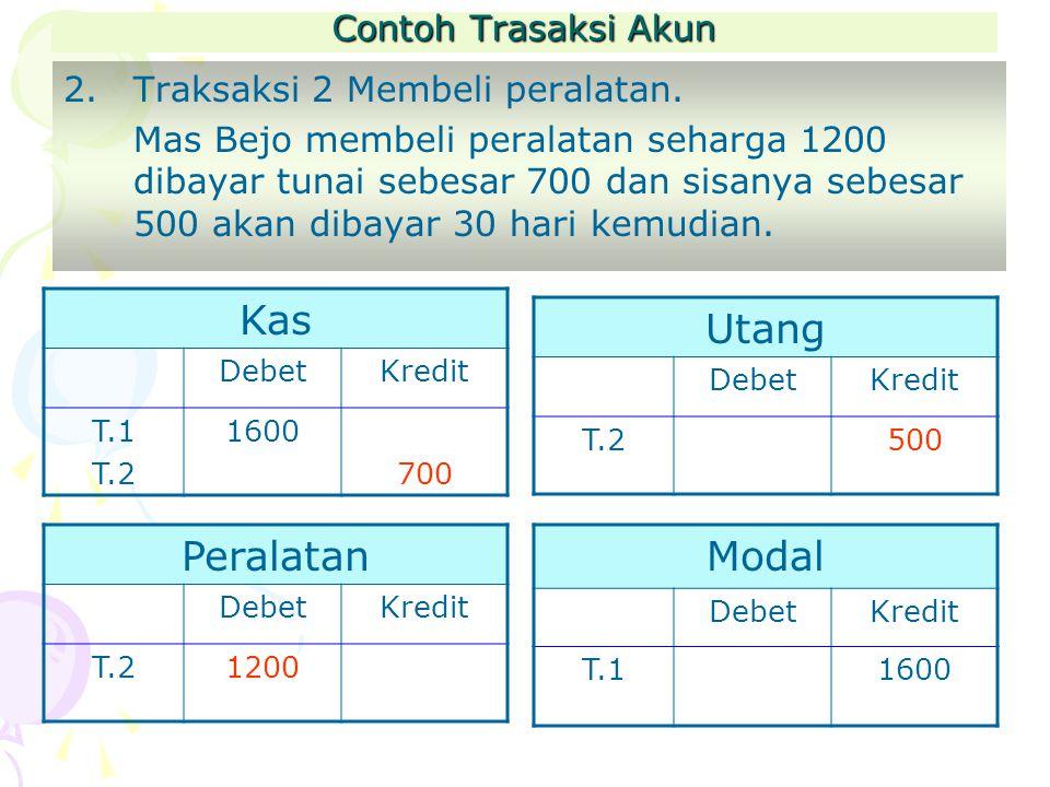 Contoh Trasaksi Akun 2.Traksaksi 2 Membeli peralatan.