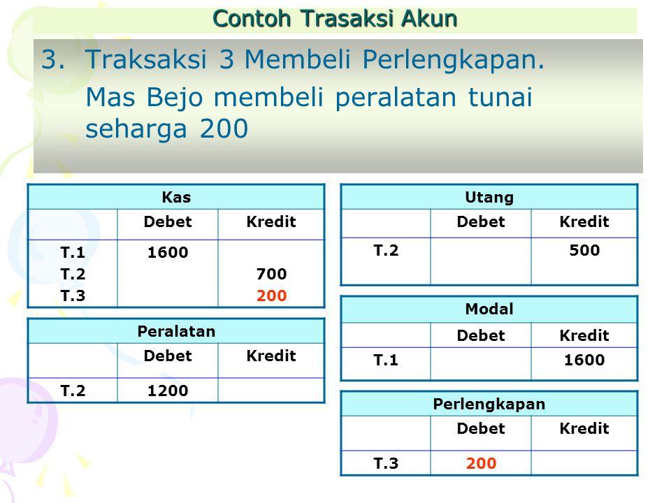 Contoh Trasaksi Akun 3.Traksaksi 3 Membeli Perlengkapan.
