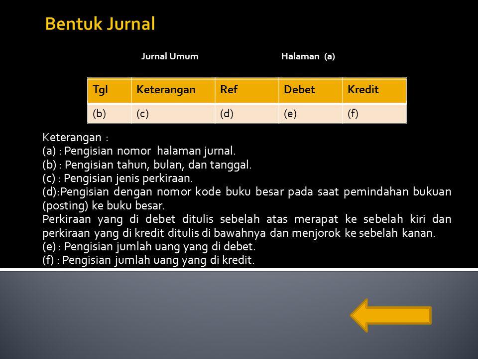 Jurnal UmumHalaman (a) Keterangan : (a) : Pengisian nomor halaman jurnal.