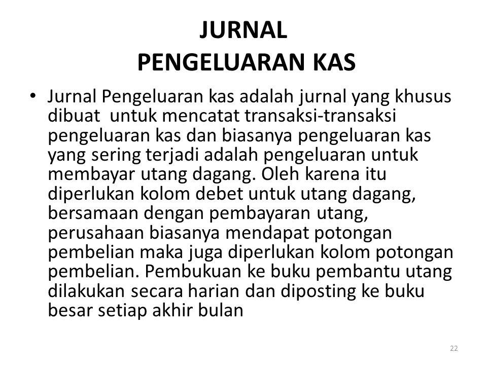JURNAL PENGELUARAN KAS Jurnal Pengeluaran kas adalah jurnal yang khusus dibuat untuk mencatat transaksi-transaksi pengeluaran kas dan biasanya pengelu