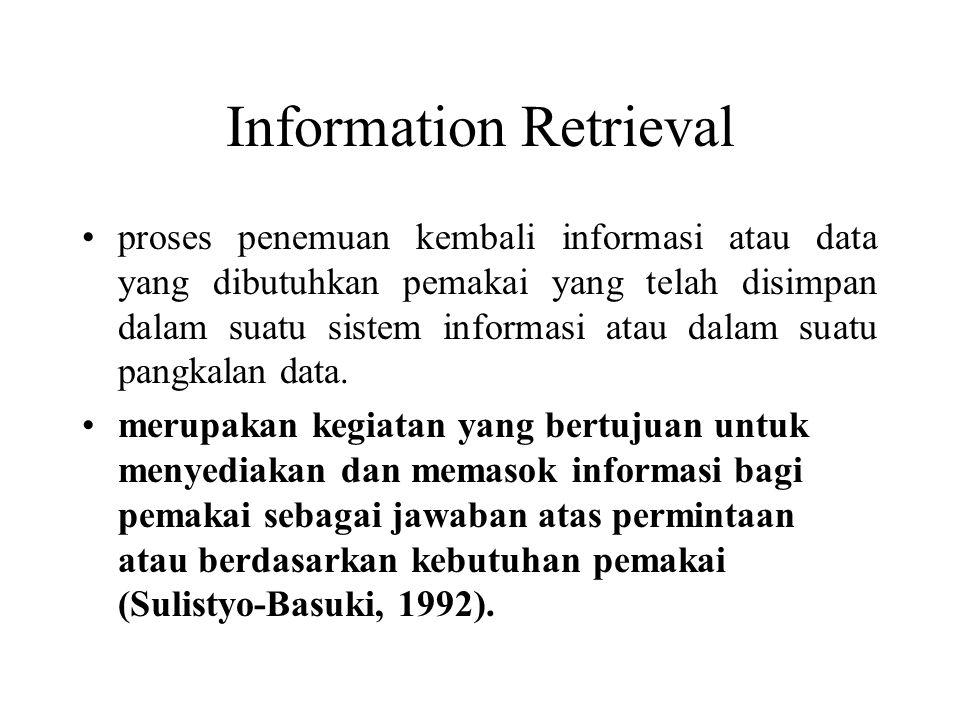 Information Retrieval proses penemuan kembali informasi atau data yang dibutuhkan pemakai yang telah disimpan dalam suatu sistem informasi atau dalam suatu pangkalan data.