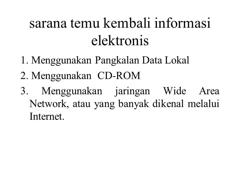 sarana temu kembali informasi elektronis 1. Menggunakan Pangkalan Data Lokal 2.