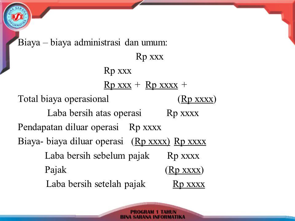 Biaya – biaya administrasi dan umum: Rp xxx Rp xxx + Rp xxxx + Total biaya operasional (Rp xxxx) Laba bersih atas operasi Rp xxxx Pendapatan diluar op