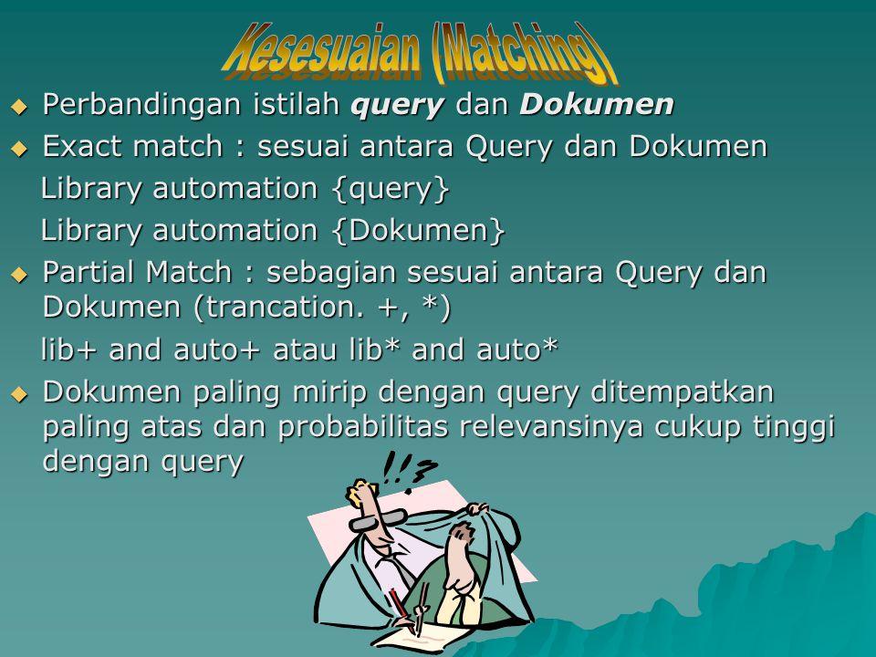  Perbandingan istilah query dan Dokumen  Exact match : sesuai antara Query dan Dokumen Library automation {query} Library automation {query} Library automation {Dokumen} Library automation {Dokumen}  Partial Match : sebagian sesuai antara Query dan Dokumen (trancation.