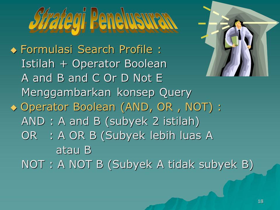  Formulasi Search Profile : Istilah + Operator Boolean Istilah + Operator Boolean A and B and C Or D Not E A and B and C Or D Not E Menggambarkan konsep Query Menggambarkan konsep Query  Operator Boolean (AND, OR, NOT) : AND : A and B (subyek 2 istilah) AND : A and B (subyek 2 istilah) OR : A OR B (Subyek lebih luas A OR : A OR B (Subyek lebih luas A atau B atau B NOT : A NOT B (Subyek A tidak subyek B) NOT : A NOT B (Subyek A tidak subyek B) 18