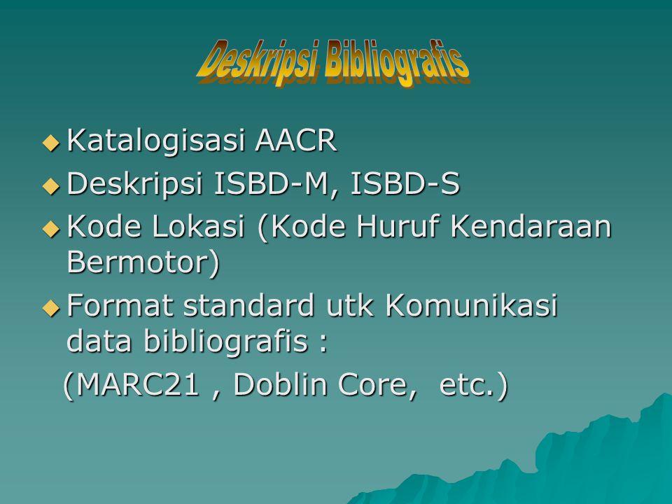  Katalogisasi AACR  Deskripsi ISBD-M, ISBD-S  Kode Lokasi (Kode Huruf Kendaraan Bermotor)  Format standard utk Komunikasi data bibliografis : (MARC21, Doblin Core, etc.) (MARC21, Doblin Core, etc.)