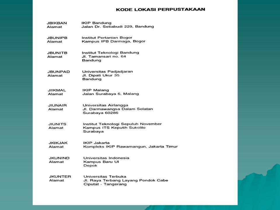 Direktorat Jendral Pendidikan Tinggi Pengemb.Staf danSarana Akademis Unit Koordinasi kegiatan Perpustakaan Jakarta