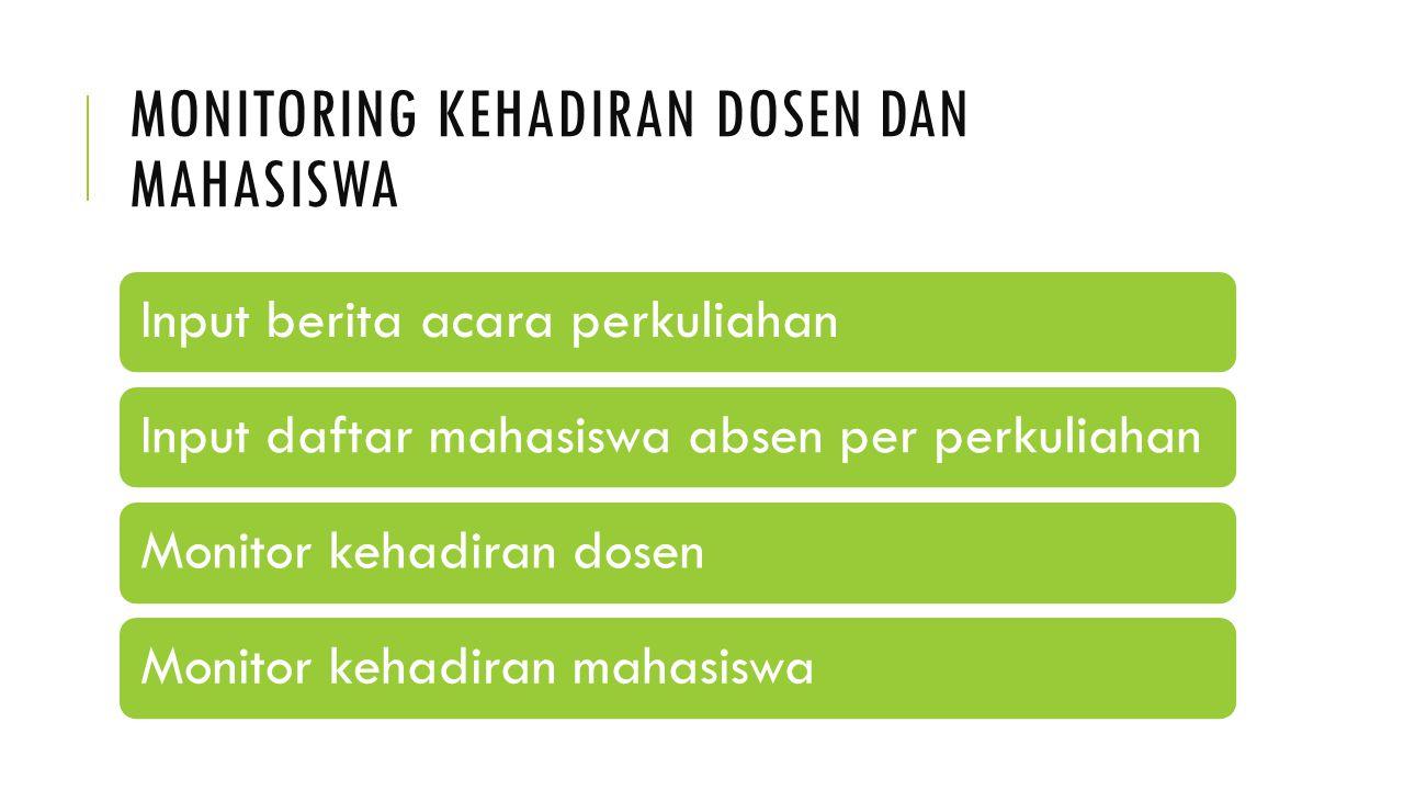 MONITORING KEHADIRAN DOSEN DAN MAHASISWA Input berita acara perkuliahanInput daftar mahasiswa absen per perkuliahan Monitor kehadiran dosen Monitor ke