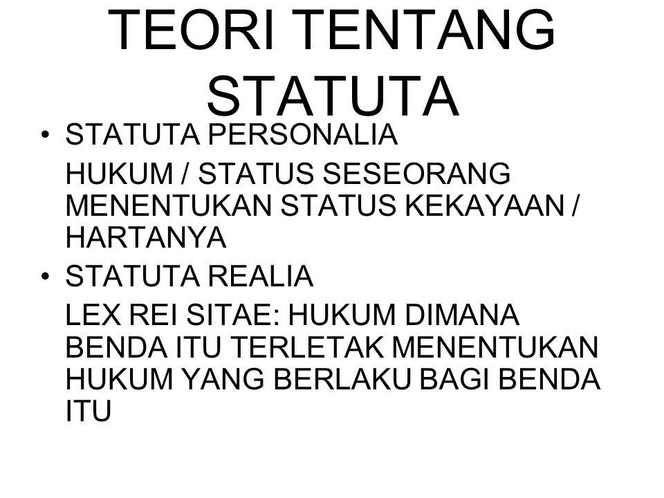 TEORI TENTANG STATUTA STATUTA PERSONALIA HUKUM / STATUS SESEORANG MENENTUKAN STATUS KEKAYAAN / HARTANYA STATUTA REALIA LEX REI SITAE: HUKUM DIMANA BEN