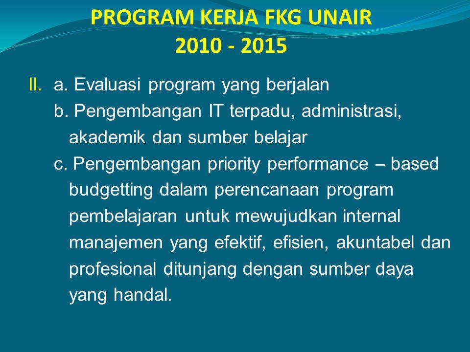 PROGRAM KERJA FKG UNAIR 2010 - 2015 II. a. Evaluasi program yang berjalan b. Pengembangan IT terpadu, administrasi, akademik dan sumber belajar c. Pen