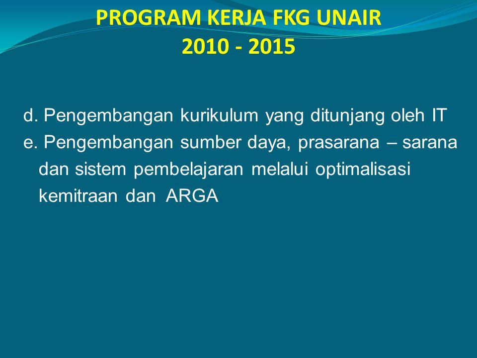 PROGRAM KERJA FKG UNAIR 2010 - 2015 d. Pengembangan kurikulum yang ditunjang oleh IT e. Pengembangan sumber daya, prasarana – sarana dan sistem pembel